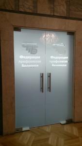 маятниковые стеклянные двери с логотипом