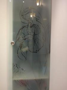 откатная стеклянная дверь ручка-кноб пескоструйный рисунок