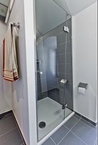 ф34 стеклянная душевая дверь с ручкой-кнобом и на петлях с подъемом
