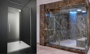 19 стеклянные душевые с распашными дверями
